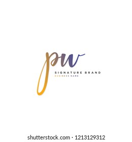 P W PW Initial letter handwriting and  signature logo concept design