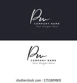 P W PW Initial letter handwriting and signature logo.