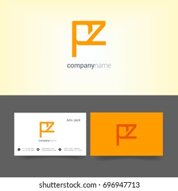 P Z joint logo design vector with business card template