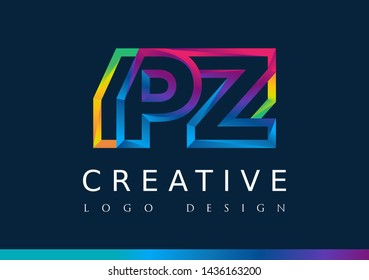P Z Logo. PZ Letter Design Vector with Magenta blue and green yellow color