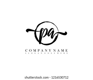 PA initial handwriting logo circle template vector