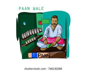 paan wala mumbai vector illustration