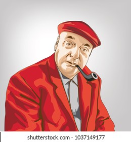 Pablo Neruda(1904-1973)Chilean poet diplomat  and politician Twenty Love Poems and a Song of Despair,  He won the Nobel Prize for Literature in 1971, pablo neruda vector image