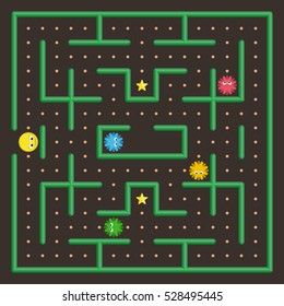Pac Man analog. Game concept with ghosts. Modern arcade video game interface design elements. Game world. Computer or mobile game screen.
