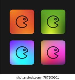 Pac man four color gradient app icon design
