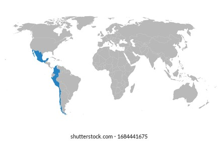 Pacific Alliance countries highlighted on world map. Latin American trade bloc. Business, political, trade and tourism.