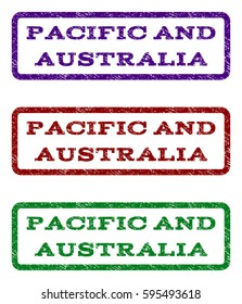 Pacific and Australia watermark stamp. Text tag inside rounded rectangle with grunge design style. Vector variants are indigo blue, red, green ink colors. Rubber seal stamp with scratched texture.