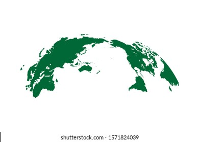 Pacific centered World Map Globe Isolated on white background