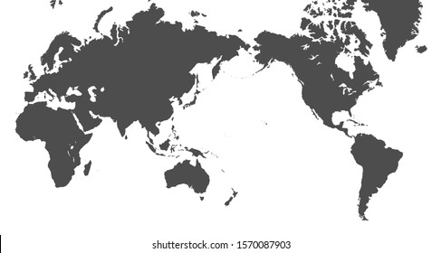 Pacific centered World Map Isolated on white background