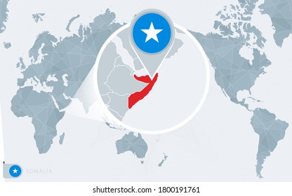 Pacific Centered World map with magnified Somalia. Flag and map of Somalia on Asia in Center World Map.