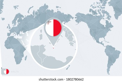 Pacific Centered World map with magnified Malta. Flag and map of Malta on Asia in Center World Map.