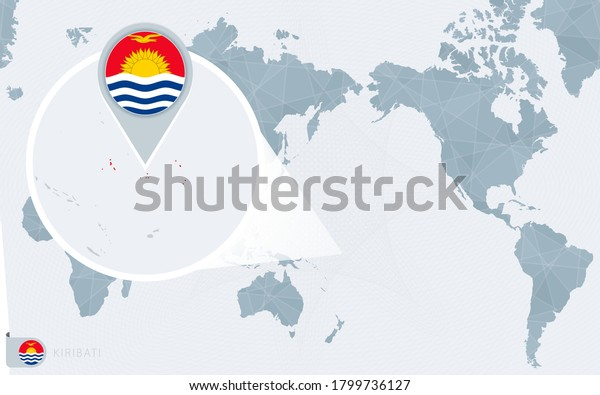 Pacific Centered World map with magnified Kiribati. Flag and map of Kiribati on Asia in Center World Map.
