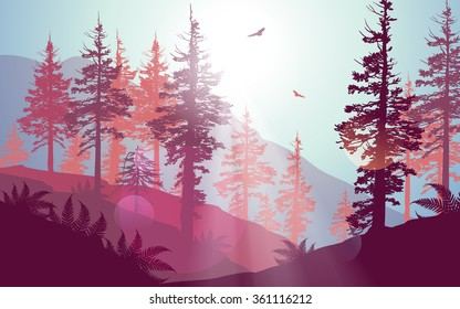Pacific Northwest forest scenery in purple colour palette.