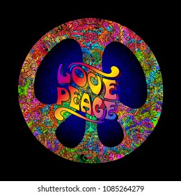 Pacific - a symbol of the hippie. Love and Peace concept. Rainbow psychedelic colors on a black background.