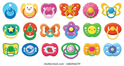 Pacifier isolated cartoon set icon. Cartoon set icon soother . Vector illustration pacifier on white background.