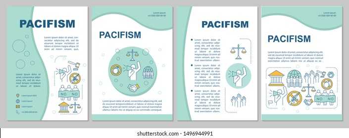 Pacifism movement brochure template layout. Militarism resistance flyer, booklet, leaflet print design with linear illustrations. Vector page layouts for magazines, annual reports, advertising posters