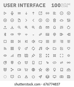 Pack of 100 outlined user interface icons for mobile and web