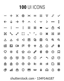Pack of 100 UI Icons - line art, minimalistic, application, mobile, modern, web, high quality, vector