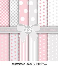 Pack of 12 Modern Seamless patter - BABY GIRL - Gingham, Jumbo Polka Dot, Polka dot, Stars and Stripe Patterns in Silver, White and lovely Blue.