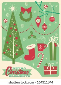 Pack of 1950's Style Retro Christmas Elements