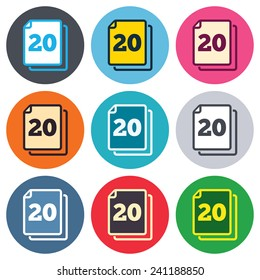 In pack 20 sheets sign icon. 20 papers symbol. Colored round buttons. Flat design circle icons set. Vector