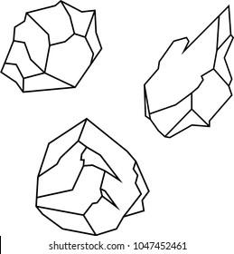 Pack of 3 geometric outline rock vectors