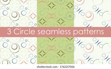 Pack of 3 summer bright seamless abstract patterns in pastel shades