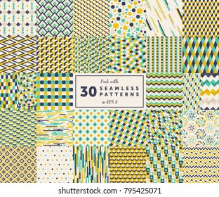 Pack with 30 colored seamless geometric pattern backgrounds