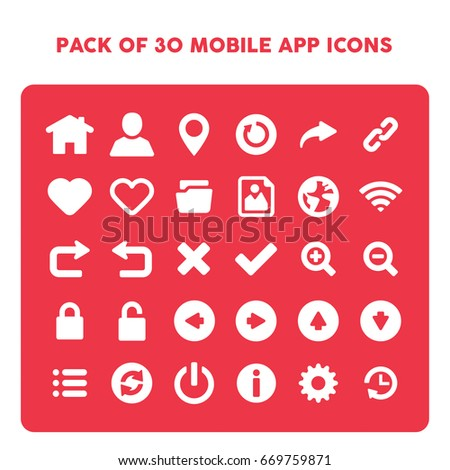 Pack 30 Mobile App Icons Symbols Stock Vector Royalty Free
