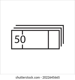 Pack of 50 bills. Thin lines