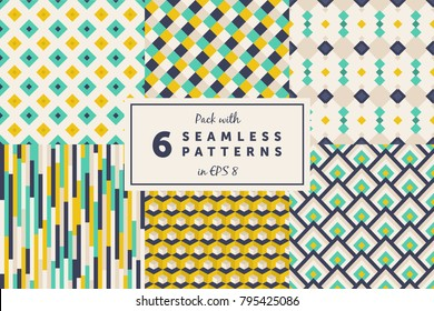 Pack with 6 colored seamless geometric pattern backgrounds