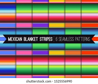 Pack of 6 Mexican Serape Blanket Stripes Seamless Vector Patterns in Vivid Colors. Backgrounds for Day of the Dead or Cinco de Mayo Decor. Rug Texture with Threads. Pattern Tile Swatches Included.
