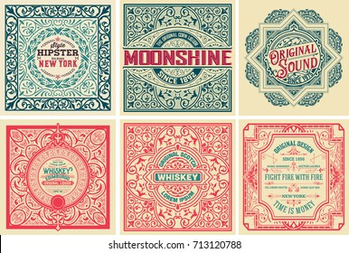 Pack of 6 old cards and labels