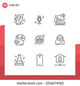 Pack of 9 creative Outlines of a+; education; recorder; cap; electric vehicle Editable Vector Design Elements
