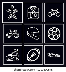 Pack of 9 sports outline mono color icons included rugby, soccer, helmet, bike, kimono, wingsuit, martial arts