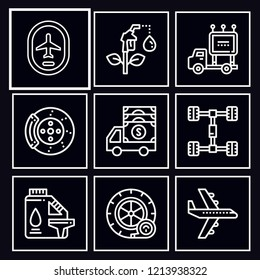 Pack of 9 transport outline mono color icons included cargo truck, aeroplane, gasoline, biodiesel, truck, brake, tire