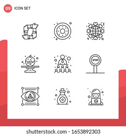 Pack of 9 Universal Outline Icons for Print Media on White Background.