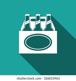 Pack of beer flat icon with long shadow. Vector Illustration