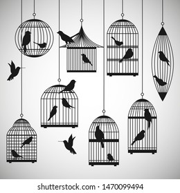 pack of birds in cages silhouettes - vector