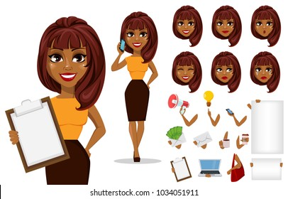 Pack of body parts and emotions. African American business woman cartoon character creation set. Young beautiful businesswoman in smart casual clothes. Stock vector