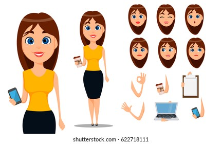Pack of body parts and emotions. Vector character illustration in cartoon style. Business woman cartoon character creation set. Young attractive businesswoman in smart casual clothes.