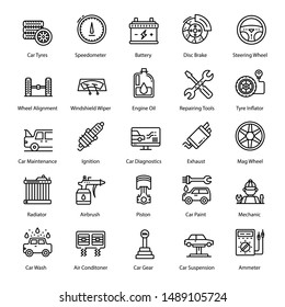 Pack of car service line icons, variety of car equipment and tools depicting auto parts. Best for any kind of transportation related projects. A well designed pack with line icons which you can edit
