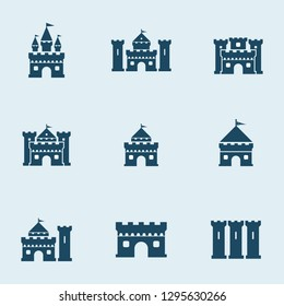 pack of castle icons with different types of shapes.