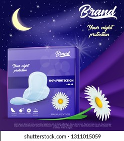 Pack of Chamomile Hygienic Pads. Illustration of Night Protection. Menstruation Blood Absorbent. Thin Pads with Wings. Feminine Hygiene Products. Sanitary Napkins Banner Ad. Vector EPS 10.
