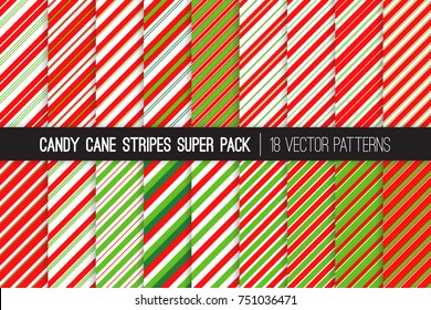 Pack of Christmas Candy Cane Stripes Vector Patterns. Classic Winter Holiday Mint Candy Treat. Red Green White Striped Backgrounds. Variable Thickness Diagonal Lines. Pattern Tile Swatches Included.