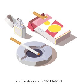 Pack of cigarettes, gas lighter and ashtray. Vector isometric set of open paper package with tobacco products and one burning cigarette with filter on ceramic ashtray isolated on white background