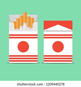Pack of cigarettes isolated on background . Stock flat vector illustration.