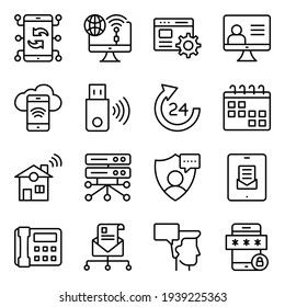 Pack of Communication, Technology and Devices Linear Icons