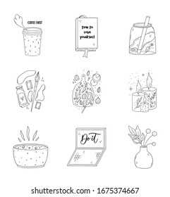 Pack of cute doodle illustration. Adorable planner stickers.