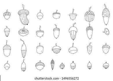 Pack of cute hand drawn doodle fall illustrations with oak tree acorns.